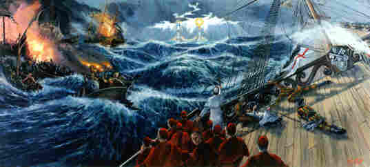 Contemporary painting by Matthew Brooks of great sea battle between the Church and her enemies in a state of virtual reality